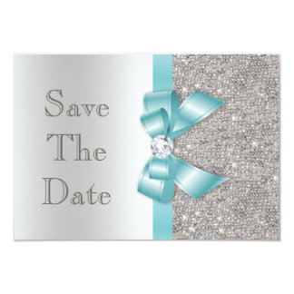 Teal Faux Bow & Diamonds Silver Save The Date 3.5x5 Paper Invitation Card