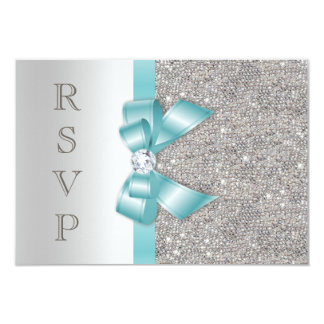 Teal Faux Bow Silver Diamonds RSVP 3.5x5 Paper Invitation Card