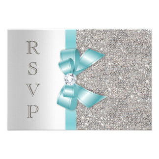 Teal Faux Bow Silver Diamonds RSVP Custom Invites
