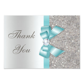 Teal Faux Bow Silver Diamonds Thank You 3.5x5 Paper Invitation Card