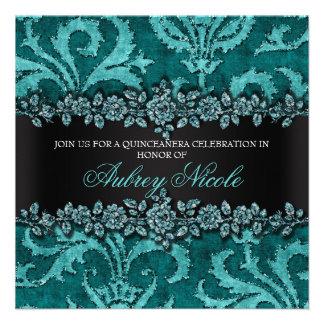 Teal Faux Glitter Velvet Floral Quinceanera Invite