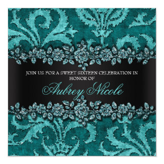 Teal Faux Glitter & Velvet Floral Sweet Sixteen 5.25x5.25 Square Paper Invitation Card