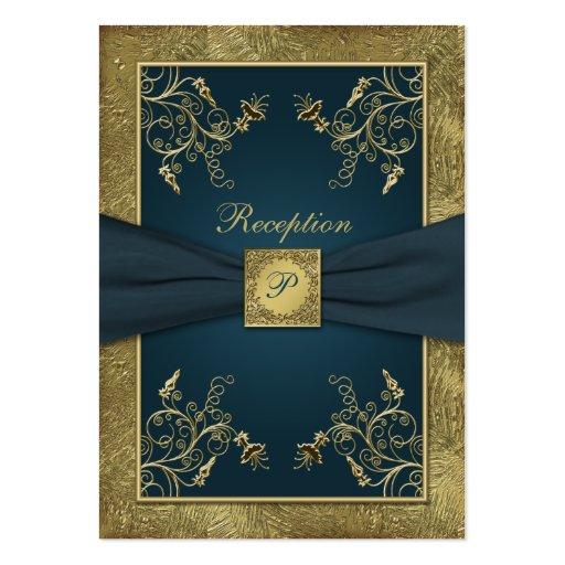 Teal, FAUX Gold, Floral Wedding Enclosure Card