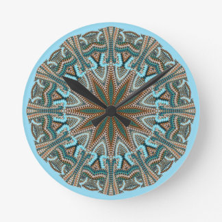 Teal Faux-knit Design Round Clock