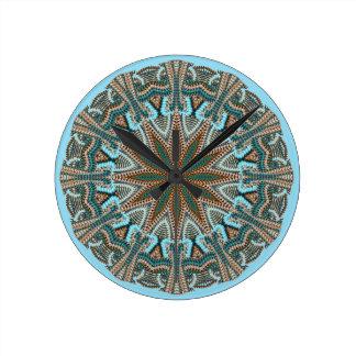 Teal Faux-knit Design Round Wallclocks