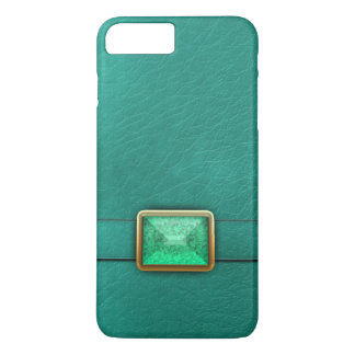 Teal Faux Leather And Gemstone Phone Case