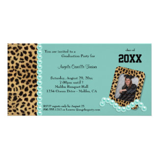 Teal Faux Leopard And Matching Pearls Invitation
