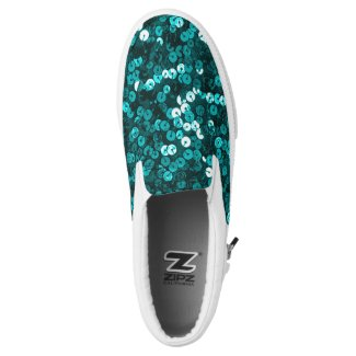 Teal Faux Sequin Slip On Sneakers