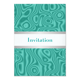 Teal Faux Silk White Silver 18th Birthday Party Card