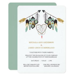 Teal Feather Arrow Dreamcatcher Wedding Card