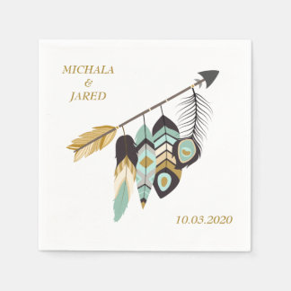 Teal Feather Arrow Wedding Paper Napkin