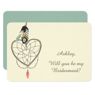 Teal Feather Dreamcatcher Bridesmaid Card