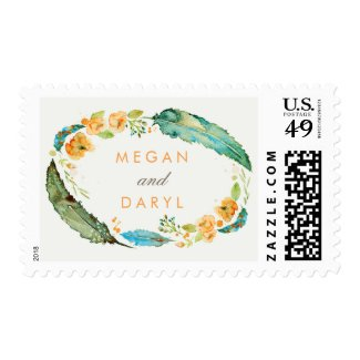 Teal Feathers Bohemian Wedding Postage Stamps at UniqueRusticWeddingInvitations.com