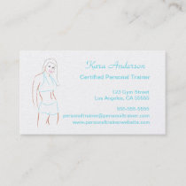 Teal Female Personal Fitness Trainer Business Card
