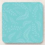 Teal Ferns Foliage Pattern Drink Coaster