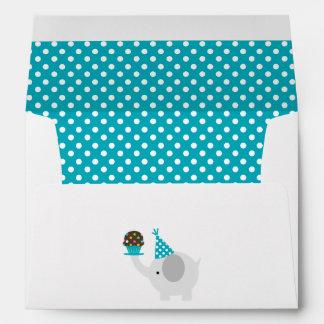 Teal Festive Birthday Elephant Envelope