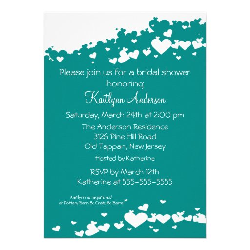 Teal Field of Hearts Bridal Shower Invitation from Zazzle.com