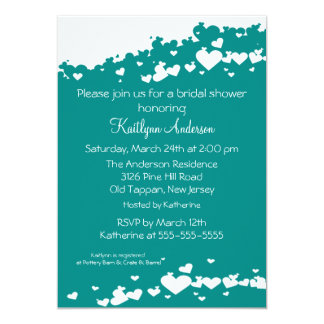 Teal Field of Hearts Bridal Shower Invitation