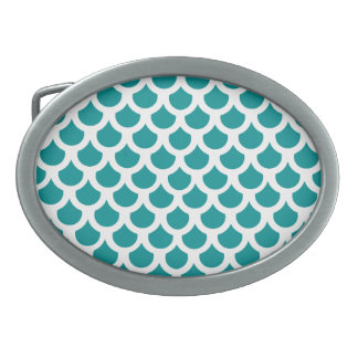Teal Fish Scale 2 Belt Buckle