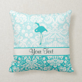 Teal Flamingo Throw Pillow