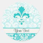 Teal Fleur de lis Classic Round Sticker