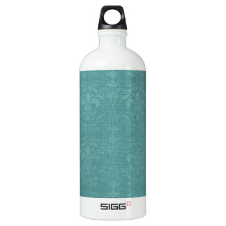 Teal Fleur De Lis Damask Aluminum Water Bottle