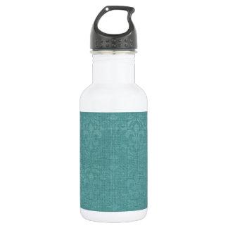 Teal Fleur De Lis Damask Stainless Steel Water Bottle