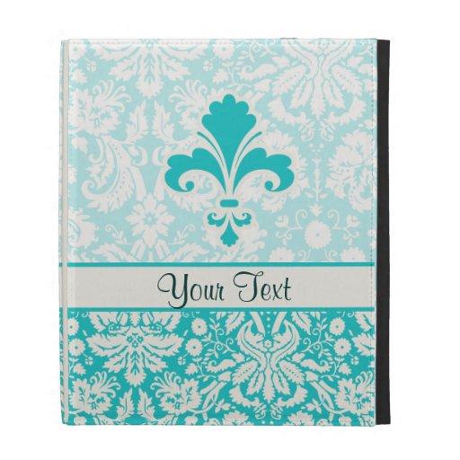 Teal Fleur de lis iPad Folio Cases