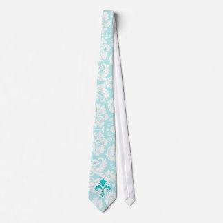Teal Fleur de lis Neck Tie