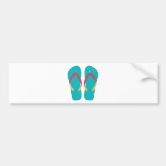 Teal Flip Flops with Red and Yellow Straps Car Bumper Sticker