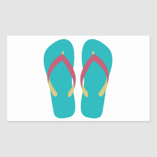Teal Flip Flops with Red and Yellow Straps Rectangular Sticker