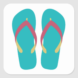 Teal Flip Flops with Red and Yellow Straps Square Sticker