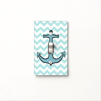 Teal Floral Anchor on Teal and White Chevron Light Switch Cover