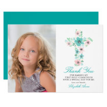 Teal Floral Cross First Holy Communion Thank You Card