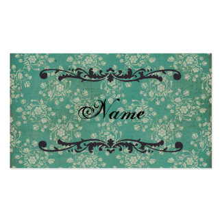 Teal Floral Damask  Business Card/Tags