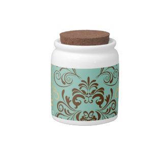 Teal Floral Design Candy Jar