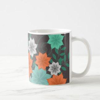 Teal Floral Design Mug