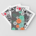 Teal Floral Design Playing Cards