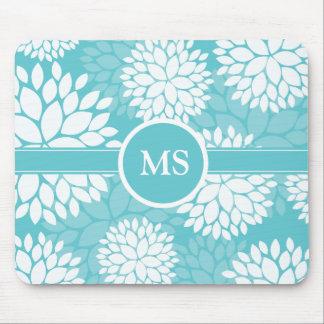 Teal Floral Elegant Pattern Mouse Pad