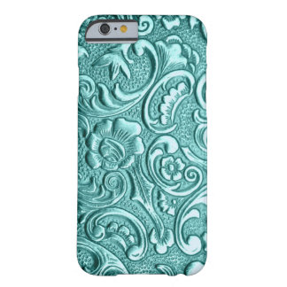 Teal floral embossed I Phone. Barely There iPhone 6 Case