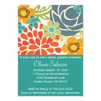 "Teal Floral Garden Bridal Shower Invitation 5"" X 7"" Invitation Card"