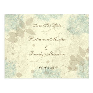 Teal Floral Garden Save The Date Postcard