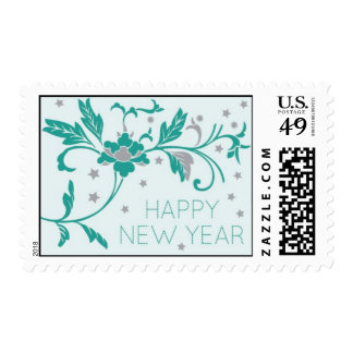 Teal Floral New Year Postage