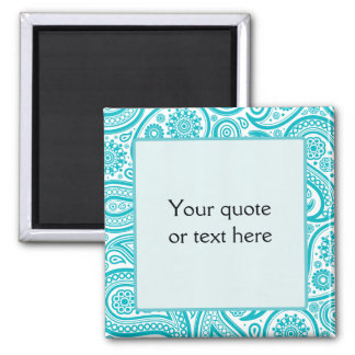 Teal Floral Paisley Monogram Pattern 2 Inch Square Magnet
