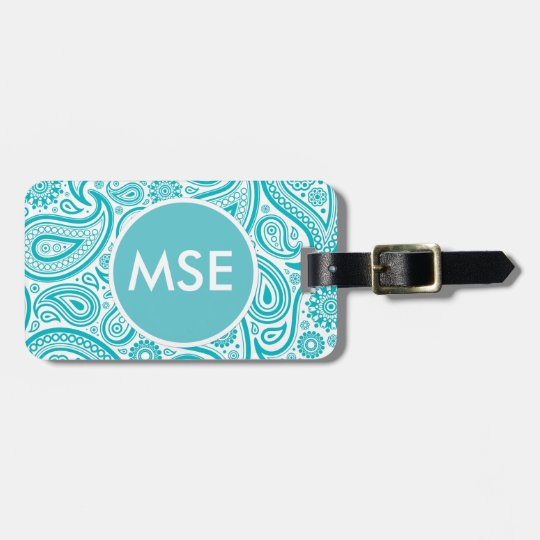 Teal Floral Paisley Monogram Pattern Bag Tag