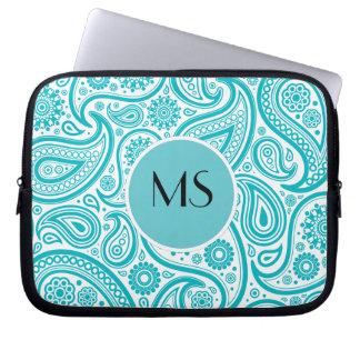 Teal Floral Paisley Monogram Pattern Laptop Sleeve