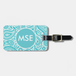 Teal Floral Paisley Monogram Pattern Tag For Luggage