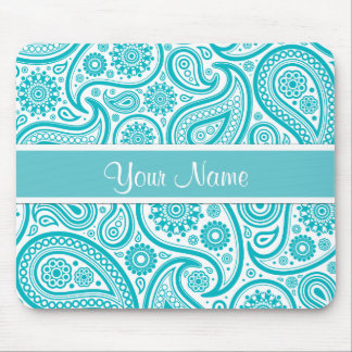 Teal Floral Paisley Monogram Pattern Mousepad