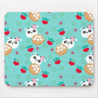 Teal Floral Panda Dumpling Pattern Mouse Pad
