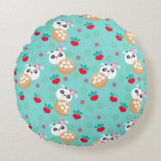 Teal Floral Panda Dumpling Pattern Round Pillow